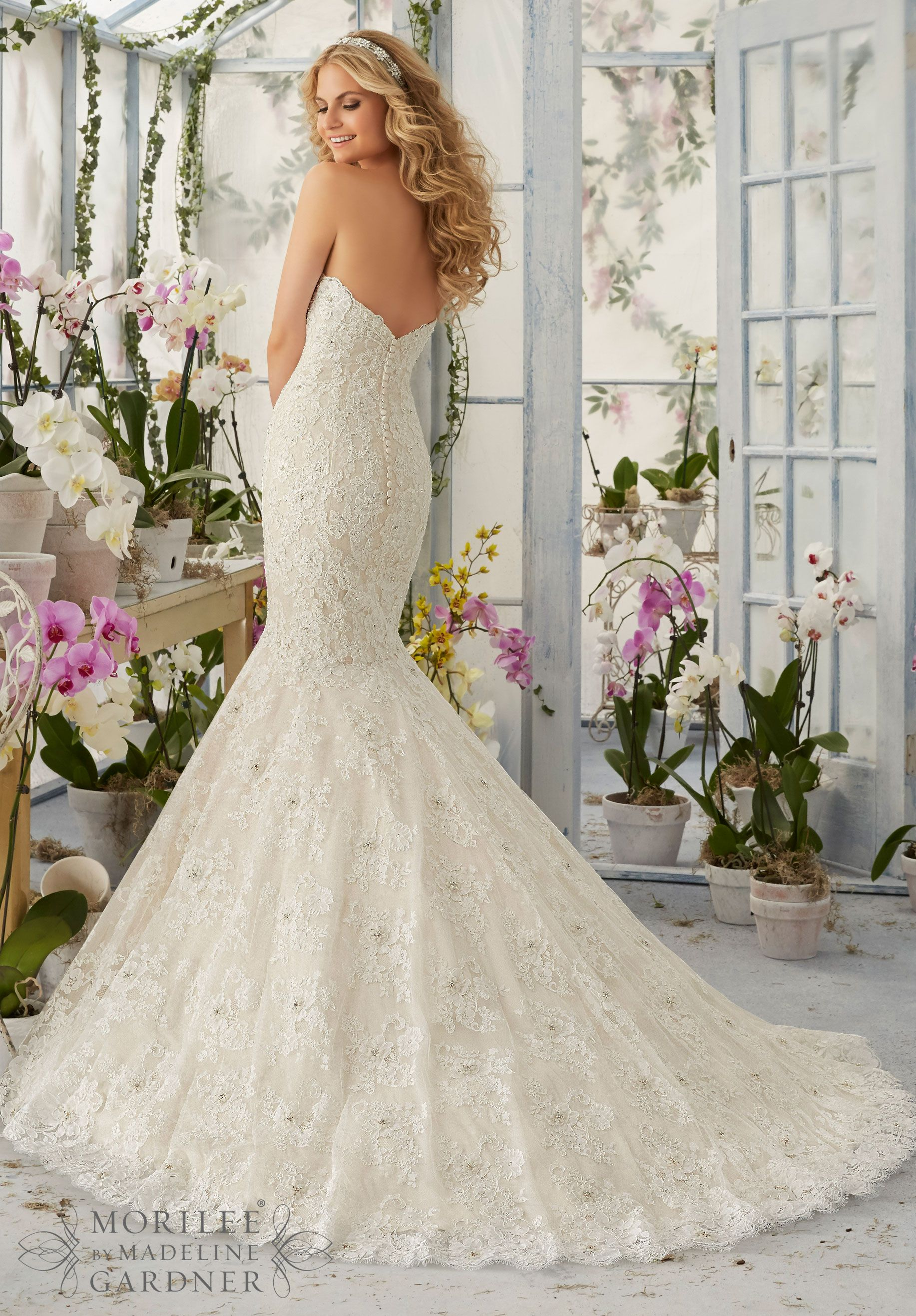 Wedding dress allover alencon lace mermaid gown with delicate