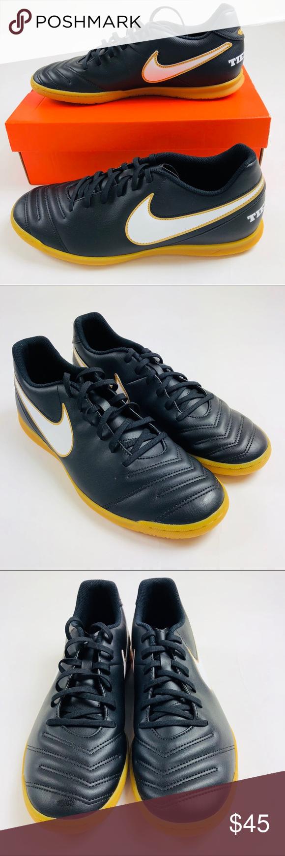 42b8f628a11 Nike Tiempo Rio III IC Indoor Soccer Shoes Black Nike Tiempo Rio III IC  Indoor Soccer Shoes Black Gold 819234 010 Mens. Size 11