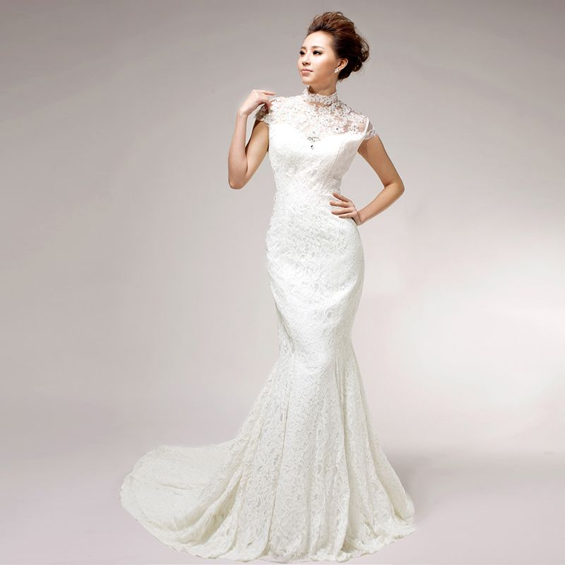 High Neck Trumpet / Mermaid Lace wedding dress Read More: http://www ...