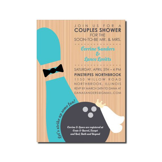 Wedding Bowling Invitation  Couples Shower Or Rehearsal Dinner