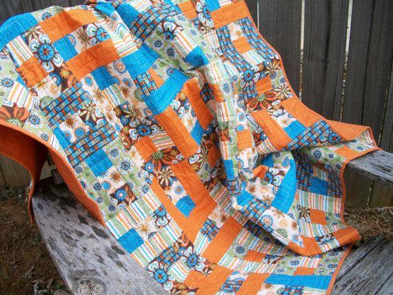 Orange Lap Quilt Throw Quilt Turquoise Green Brown Quilted Turquoise Quilt Throw Quilt Green Quilt