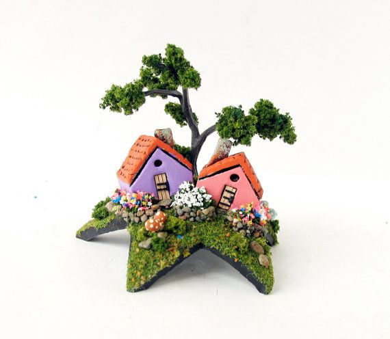 the fairy grotto of cottages upon a star miniature lilac purple rh pinterest ie