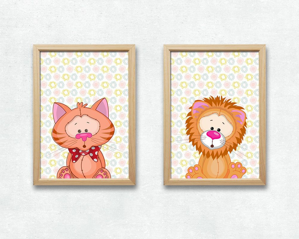 Löwe und Katze Bild Set Tiere Druck A4 Poster Kinderzimmer