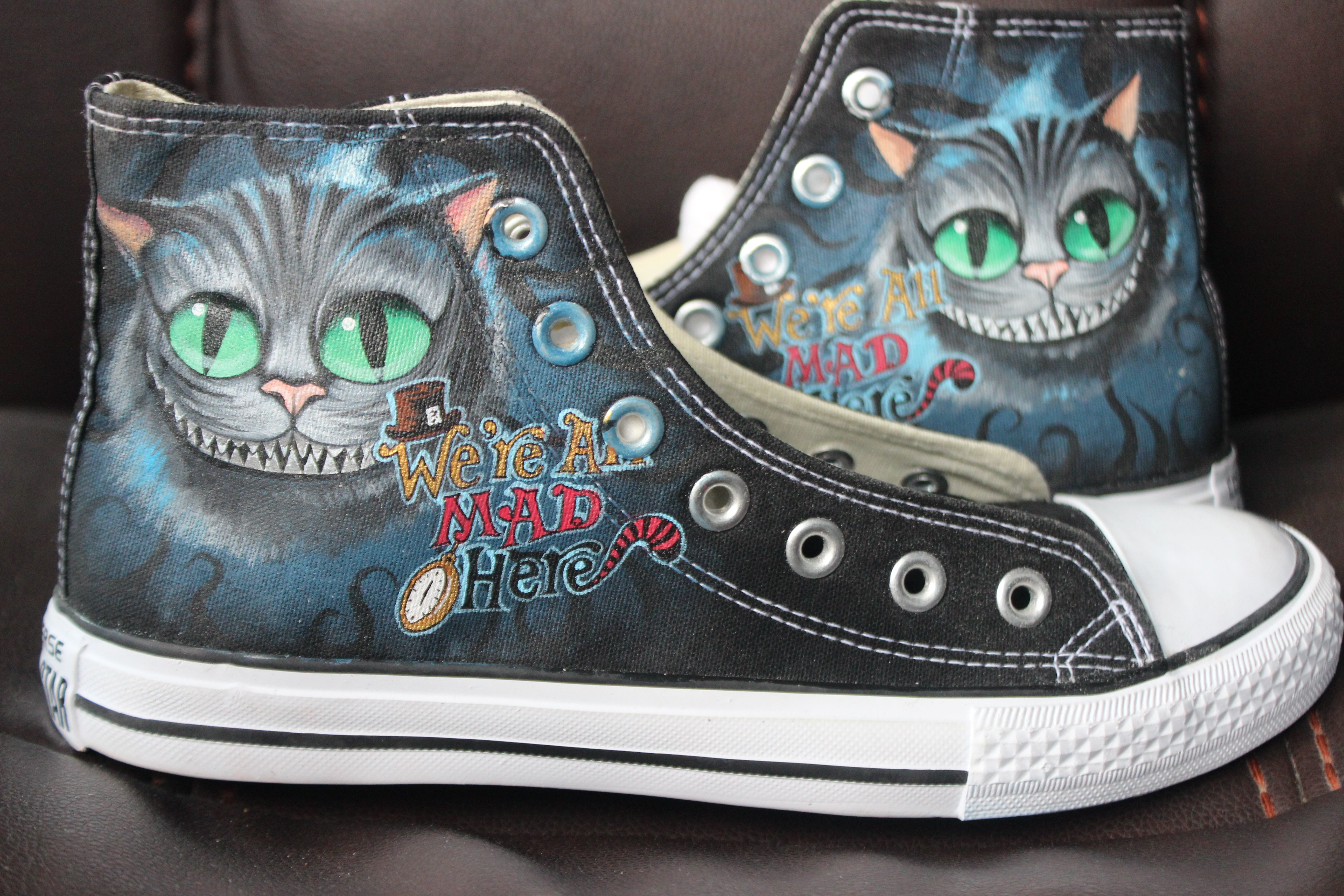 dcfe156a516 chester the cat alice in wonderland Converse Shoes Anime Shoes ...