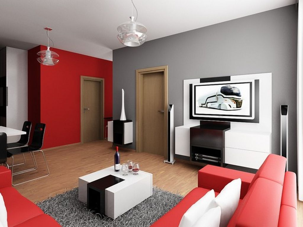 gray and red living room interior design