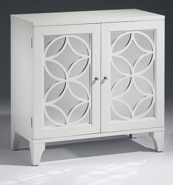 mirrored furniture - lacquered white mirrored cabinet with cut out design