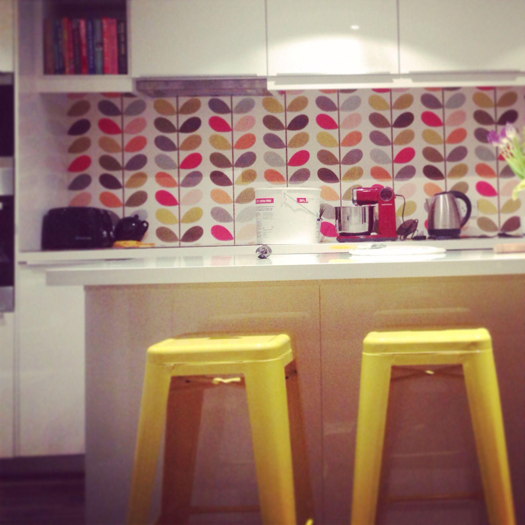 Orla kiely linear stem wallpaper -  Orla Kiely Multi Stem Wallpaper White Gloss Kitchen Yellow