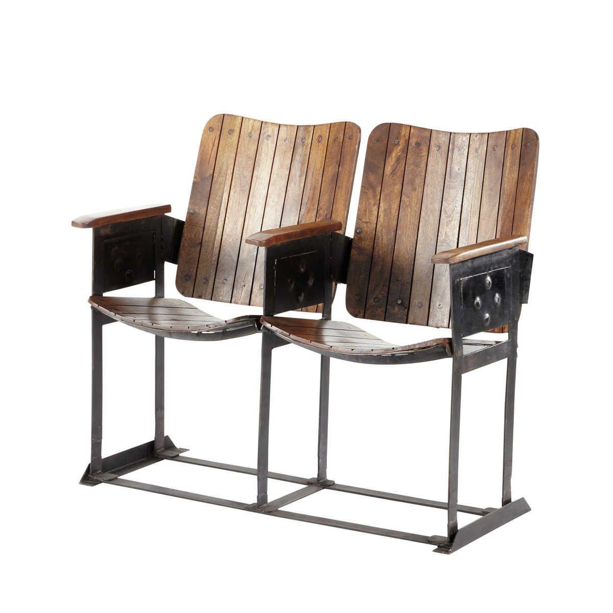 2-Sitzer Bank im Industrial-Stil aus Mangoholz antik | Industrial ...