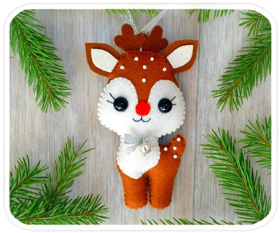 Christmas ornaments felt Reindeer Christmas Deer Cute Christmas tree