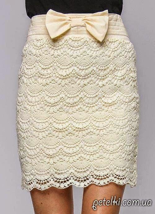 Patrones de encaje para falda en ganchillo | Вязание | Pinterest ...