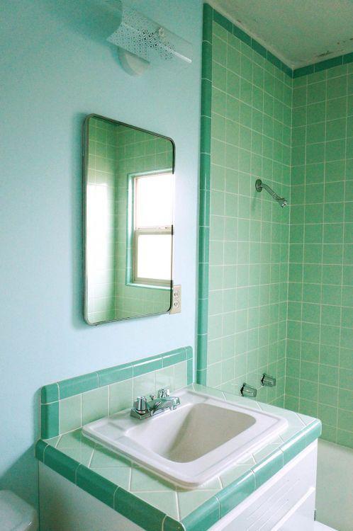 Tile Bathroom Vintage laura's green b&w tile bathroom remodel in progress | mint green