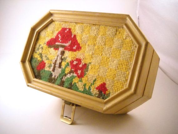 Vintage Wooden Box with Hand Stitched by sistersvintageattic