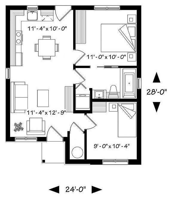 Plano de caba a econ mico con 2 dormitorios y 58m2 casas for Planos de viviendas economicas