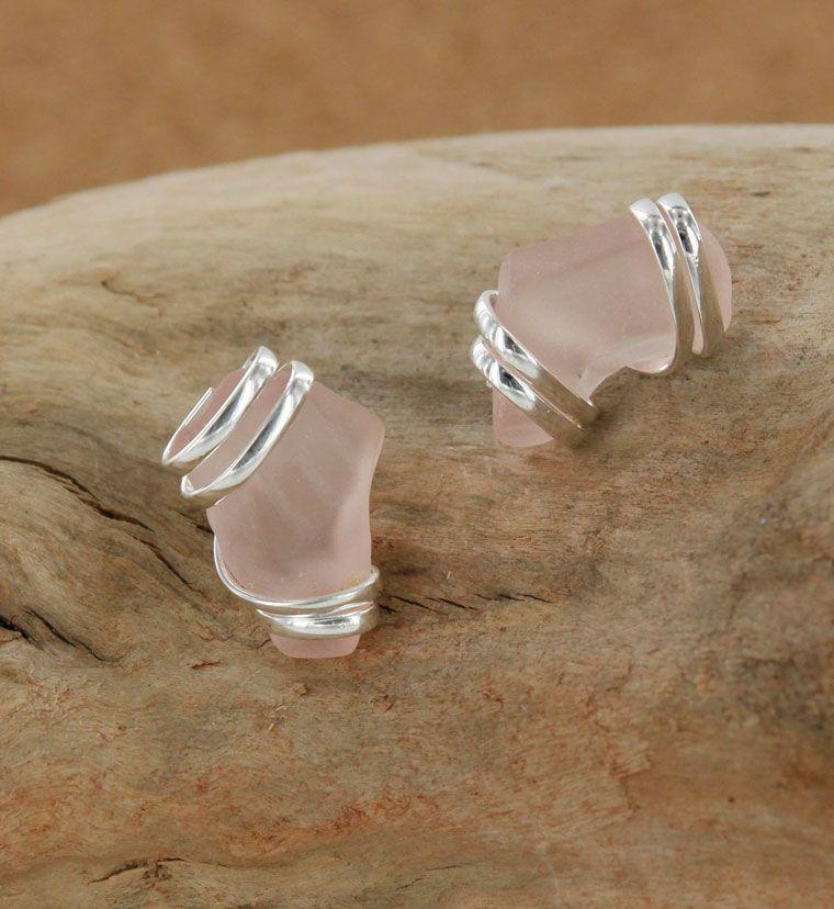 Sadie Green's Pink Sea Glass Studs
