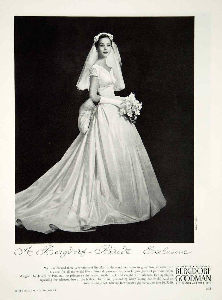 1956 Ad Vintage Empire Wedding Dress Bride Jessica of Pandora ...