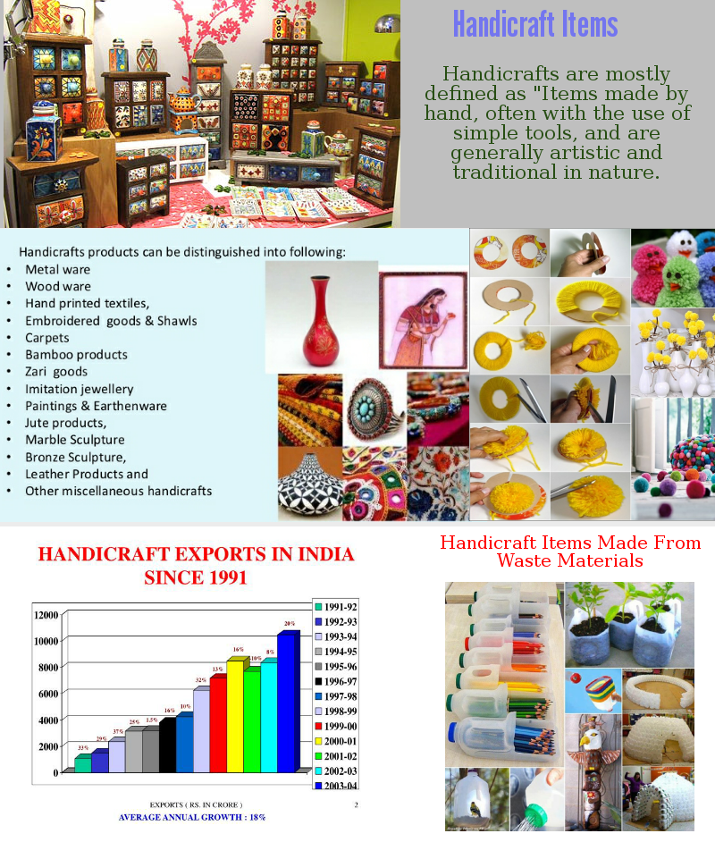 In this info graphic you can see what is handicraft items