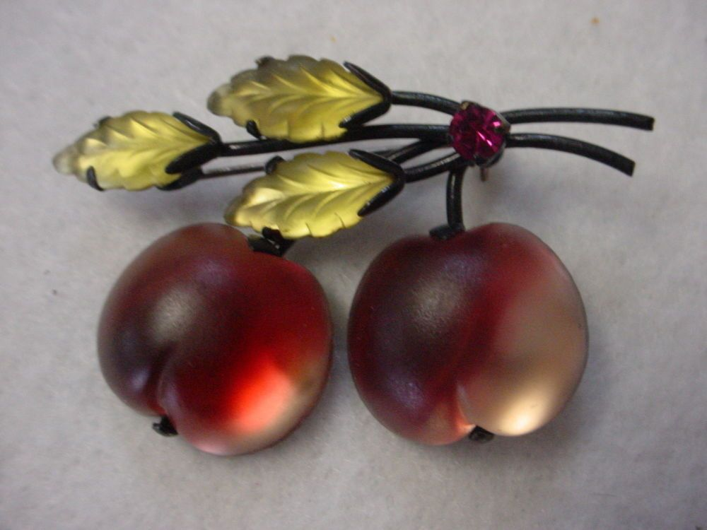 Vintage Retro 'Made in Austria' Opaque Glass Double Cherry Pin Japanned | eBay