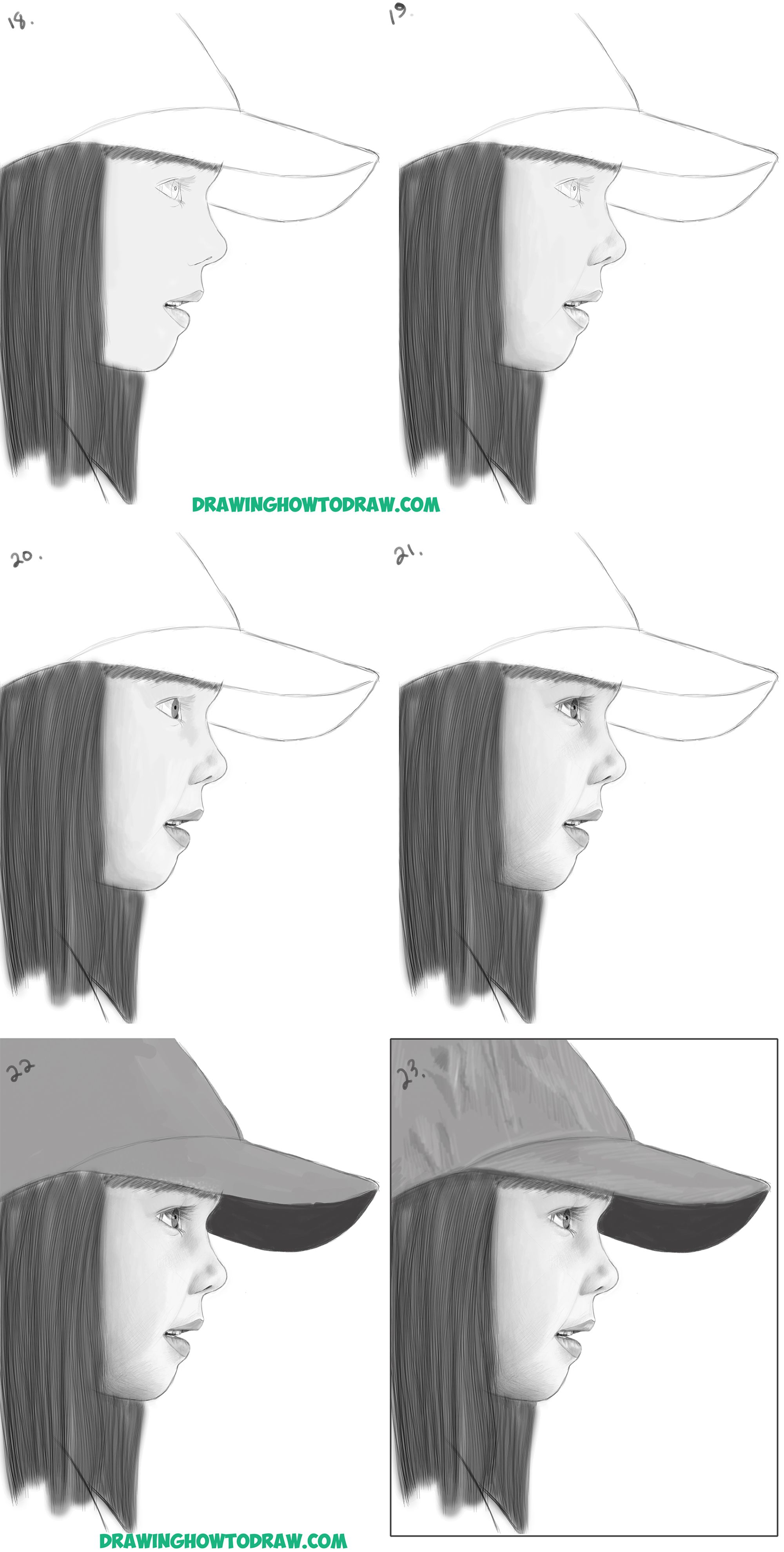 How to draw a realistic cute little girls face head from