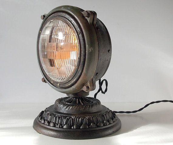 Vintage Upcycled 1940 S Truck Headlight Accent Table Lamp Steampunk Steampunk Lamp Steampunk Table Lamp Steampunk Lighting