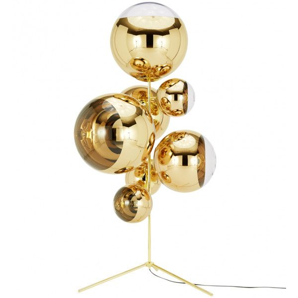 Tom Dixon Mbbsc01g Fusm Mirror Ball Gold Stand Chandelier Chandelier Floor Lamp Mirror Ball Floor Lamp