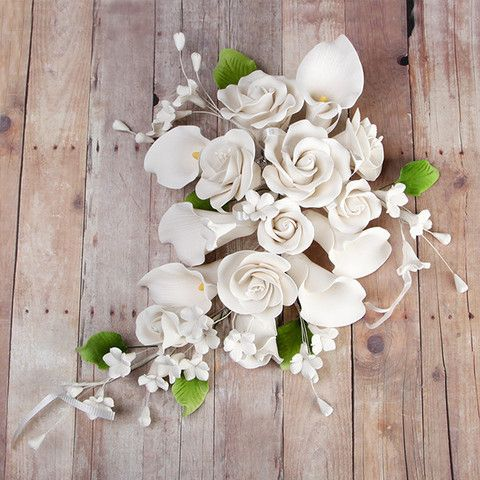 Large Tea Rose Calla Lily Sprays White Calla Lily Flower Cake Toppers Bridal Flowers