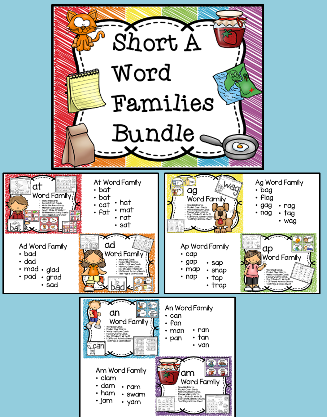 Short A Word Families Bundle With Images