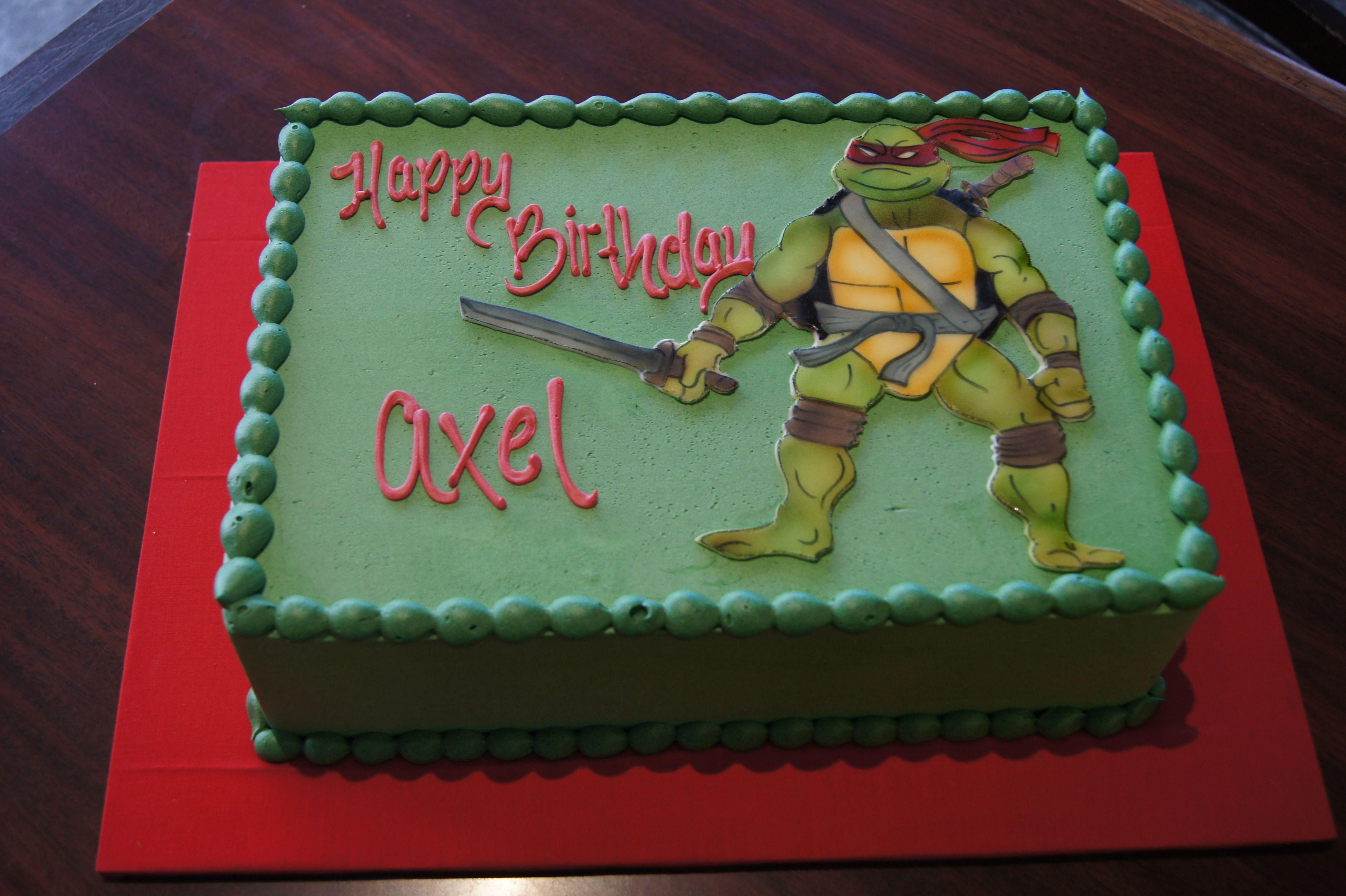 Green Teenage Mutant Ninja Turtles birthday sheet cake ...