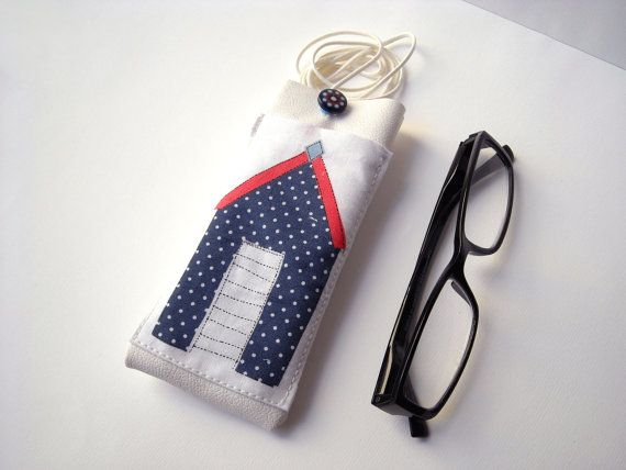 Summer beach eyeglass case with lanyard white faux leather glasses holder