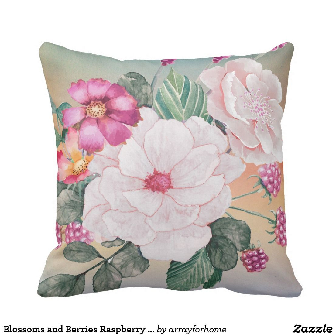Blossoms And Berries Raspberry Id476 Throw Pillow Zazzle Com Throw Pillows Pillows Pillows Flowers