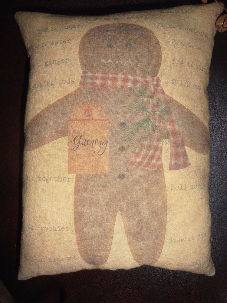 Accent PilloW OlE GinGerBread Man COOkie FolK ART Xmas PrimitiVe Country Decor #handmadenannysattic15 #Primitivecountry Ebay