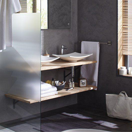Idée décoration Salle de bain \u2013 Plan de travail bois Hêtre brut Mat