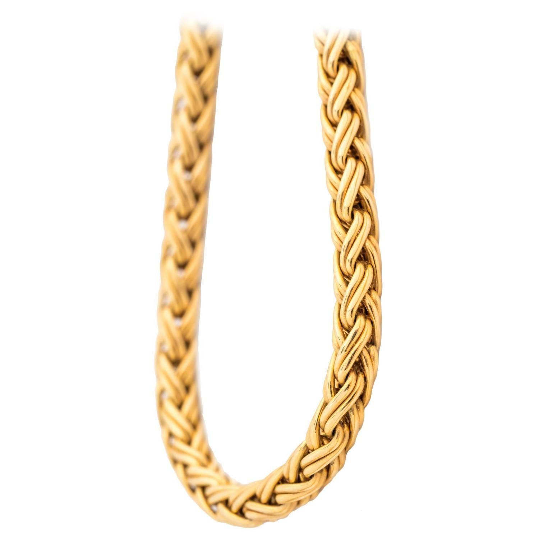 43f32ff8a1b3 1960s Tiffany   Co. 14 Karat Yellow Gold Wheat Braided Chain ...