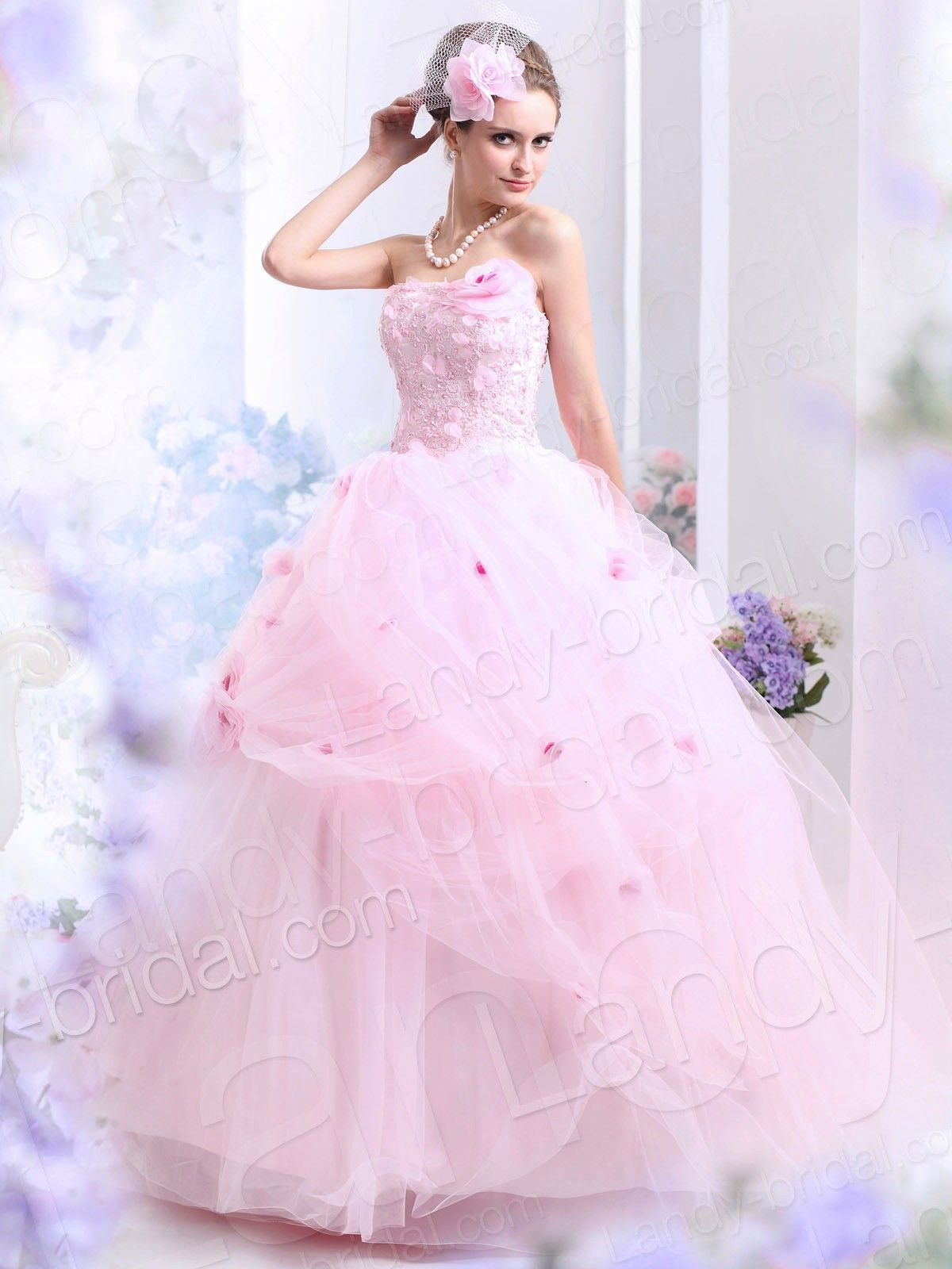 Ball Gown Strapless Floor Length Tulle Pink Wedding Dress B30007 ...