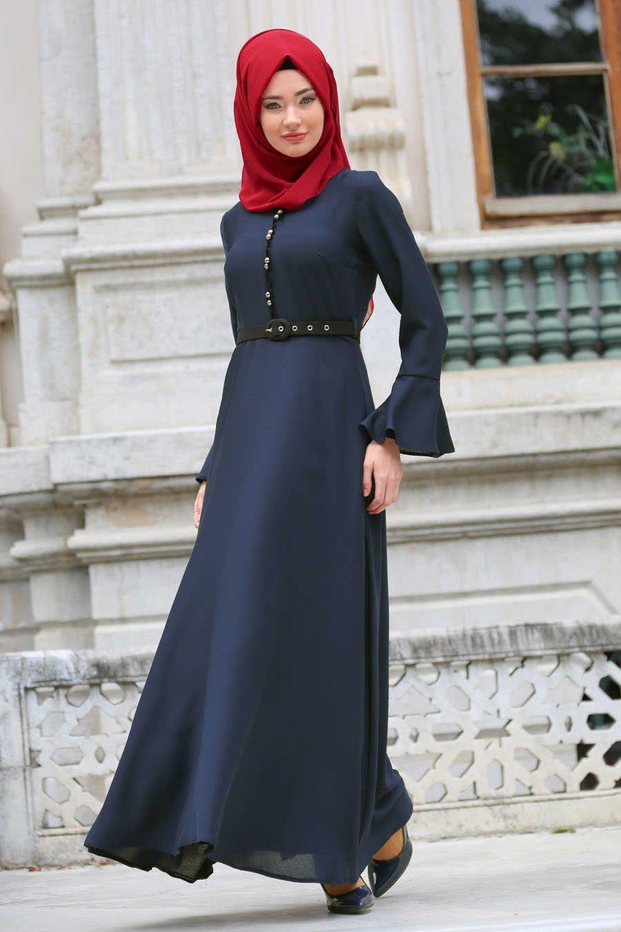 11b69d4fc22f Neva Style - Navy Blue Hijab Evening Dress 4809L in 2019 | Muslim ...