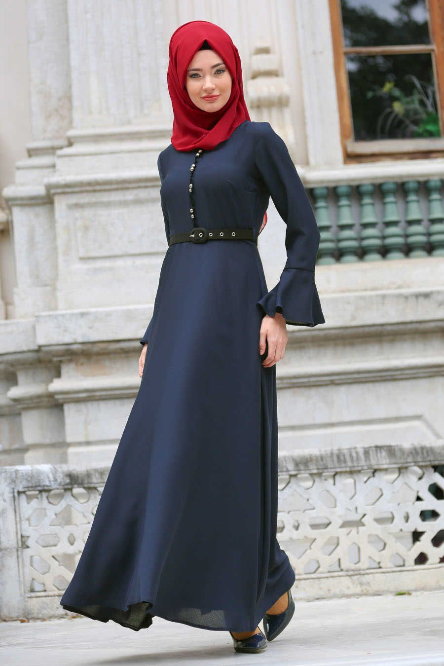 488158a983 Neva Style - Navy Blue Hijab Evening Dress 4809L in 2019 | Muslim ...