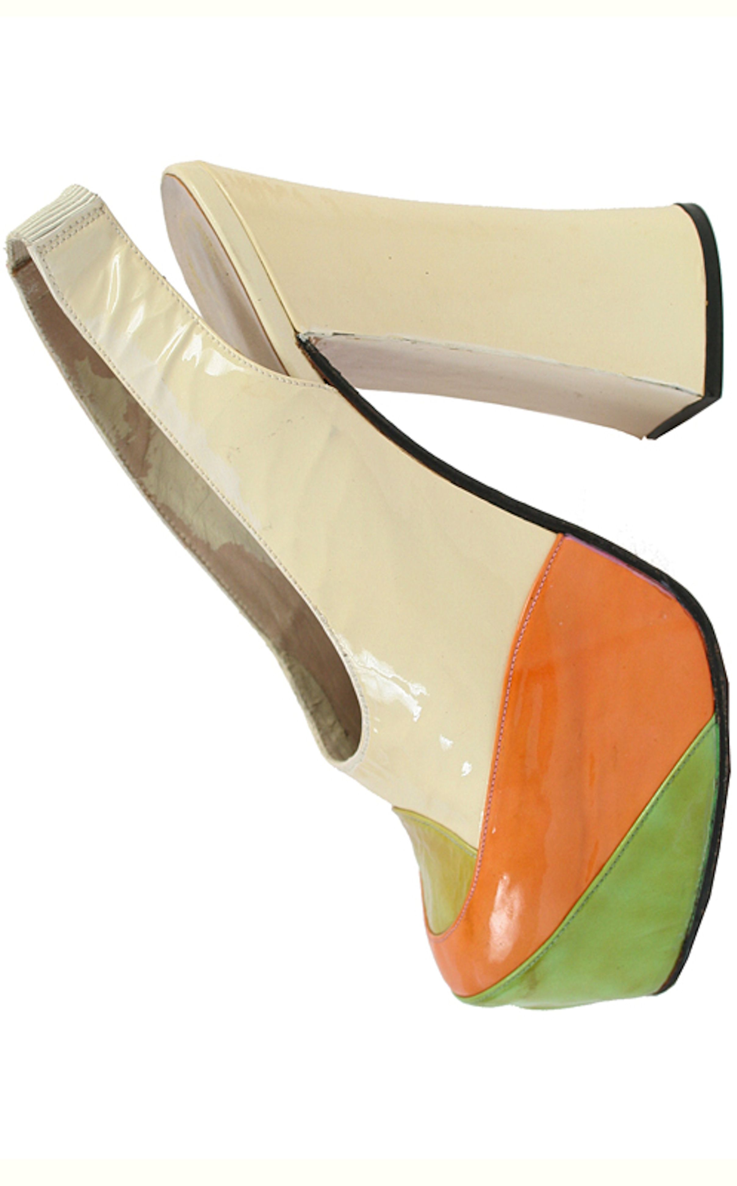 Vintage shoes - Lady's Plarform Shoes with Pieces of Color Leathe Applied to the Toe - 1970s - Spain