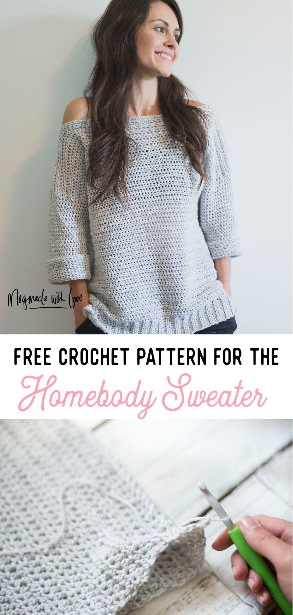 Free Crochet Pattern for The Homebody Sweater (Easy, Comfy and Cute ...