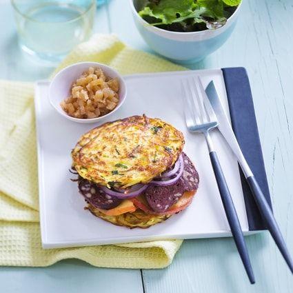Boudin noir, galettes de pommes de terre façon burger