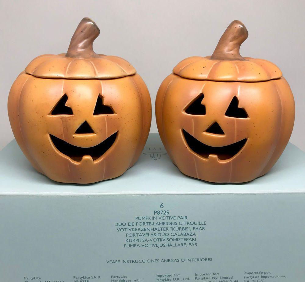 Partylite Pumpkin Jack O Lantern Votive Candle Holder X2 Halloween Ceramic Boxed Partylite Lantern Candle Holders Pumpkin Partylite