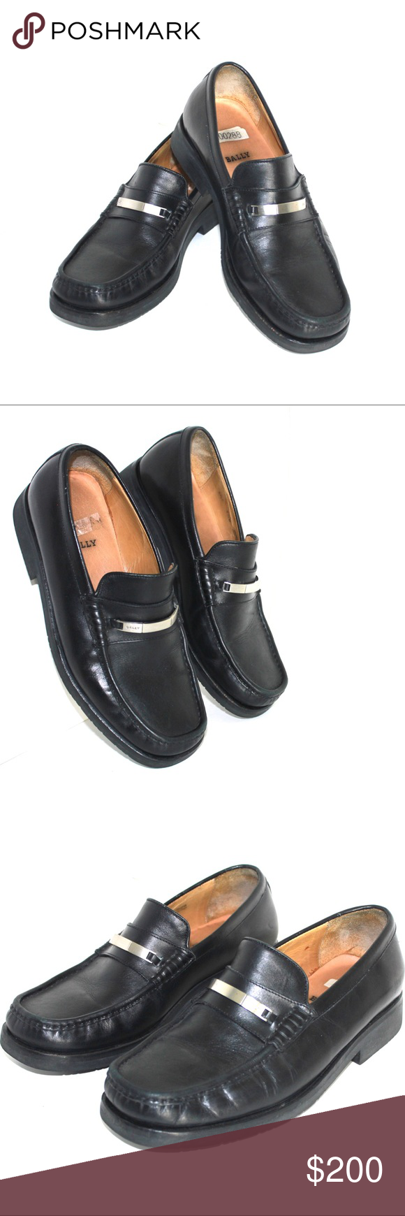 9a7b434070c30 Bally Vintage Classic Menswear Signature Loafers Quality and classic.  Silver tone signature metal detail.