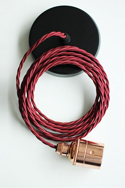 Copper Edison es27 Screw Light Fitting with Burgundy Twisted Flex & Black Ceiling Rose - NO SHADE RING