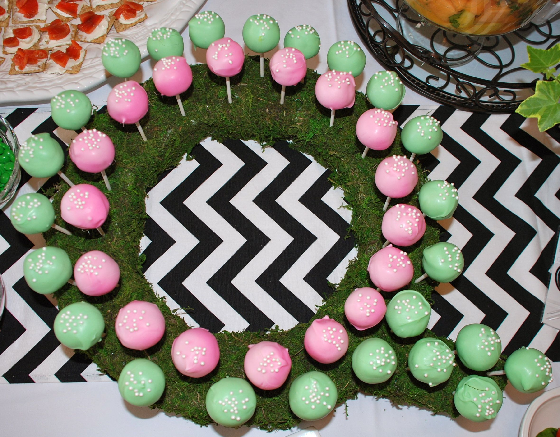 Last Name Initial Wreath Used As Cake Pop Holder Covered Foam