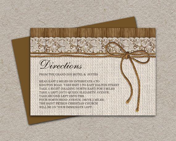 DIY Printable Rustic Wedding Direction Cards by iDesignStationery, $5.95 #Rustic #Wedding #RusticWedding #Etsy