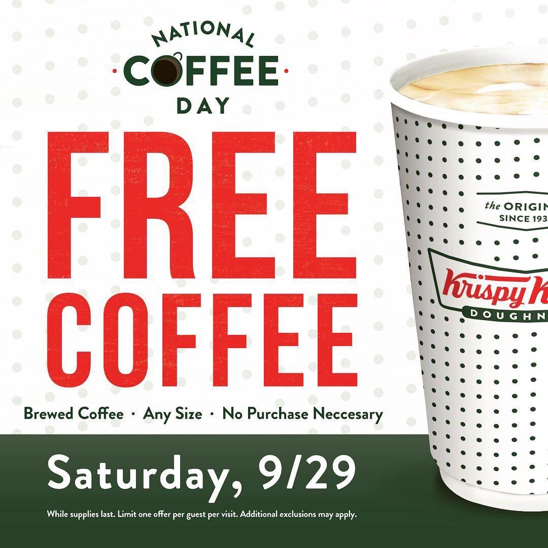 [Krispy Kreme]Free Coffee Krispy Kreme Sept 29 2018