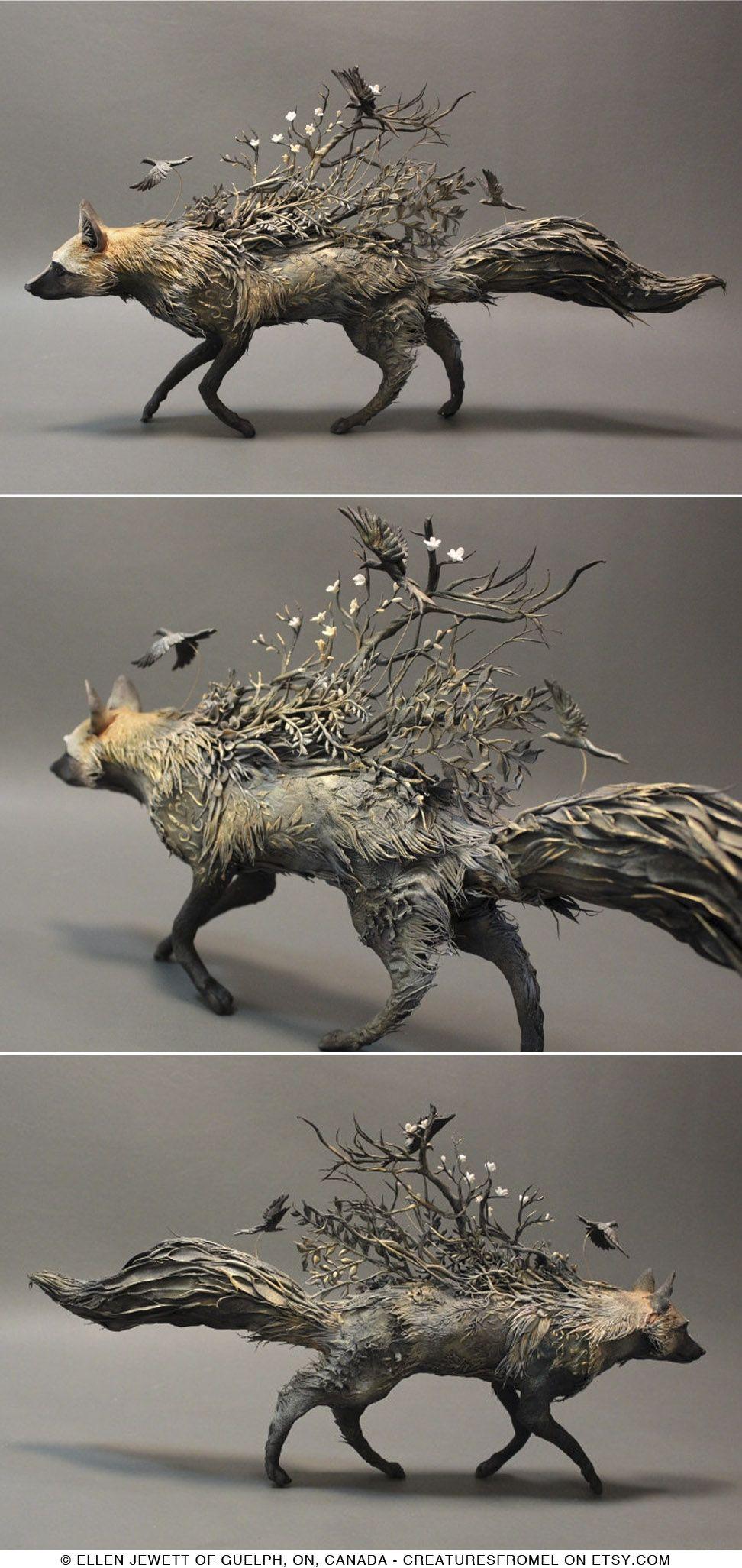 Silver Fox with Crows original handmade OOAK sculpture