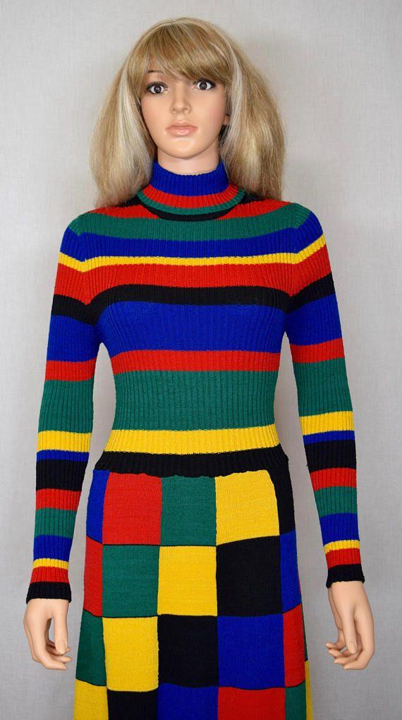Vintage 1970's World Knits Women's Rainbow PaTcHwOrK
