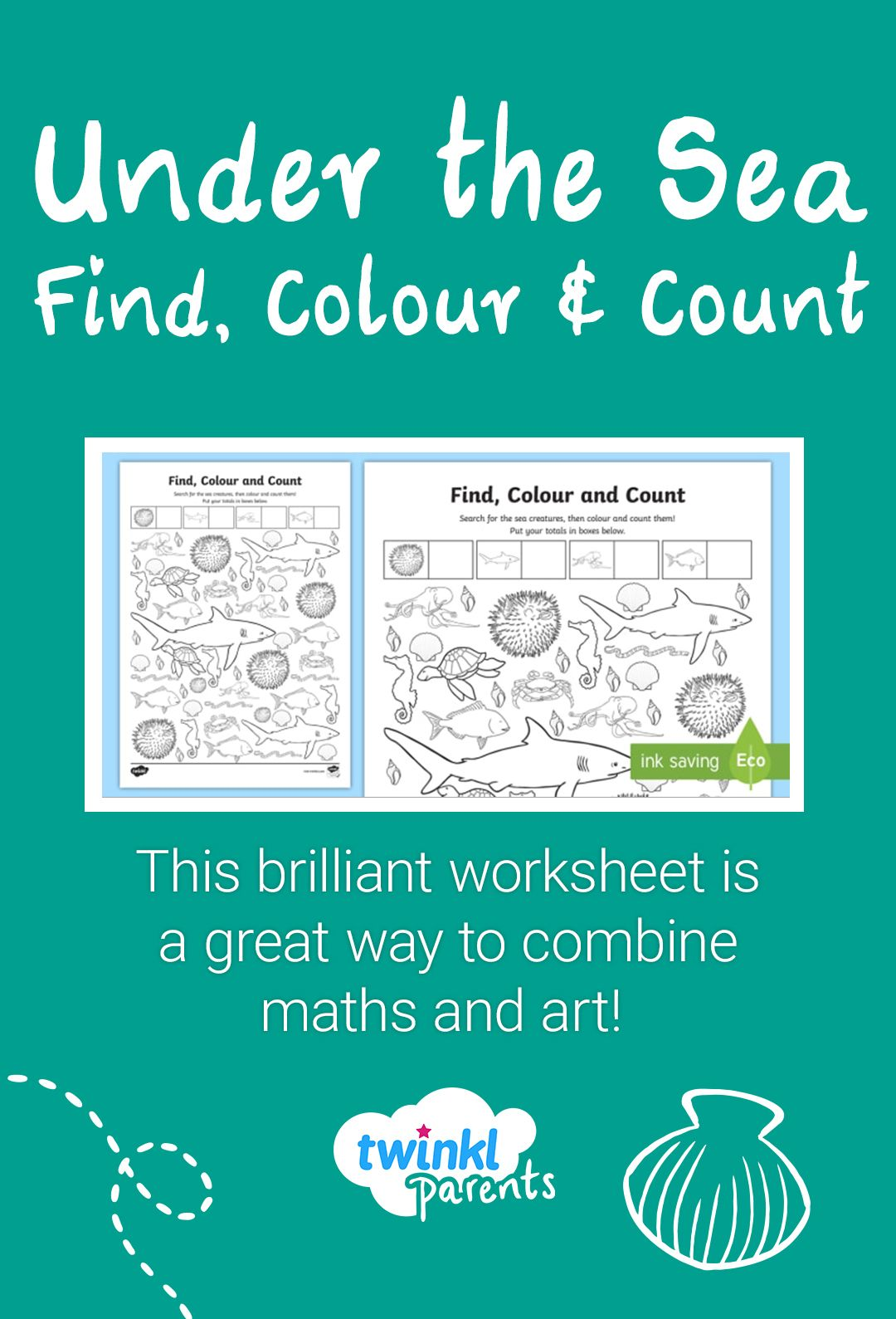 Under The Sea Find Colour And Count Worksheet