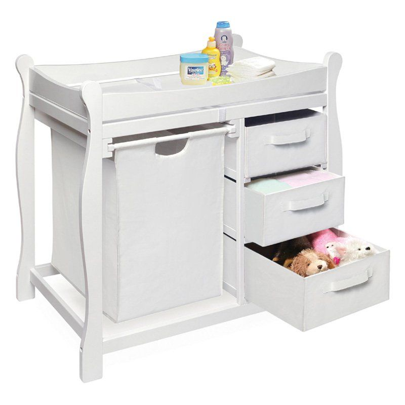 Badger Basket Sleigh Changing Table with Hamper & Drawers - 02402 ...