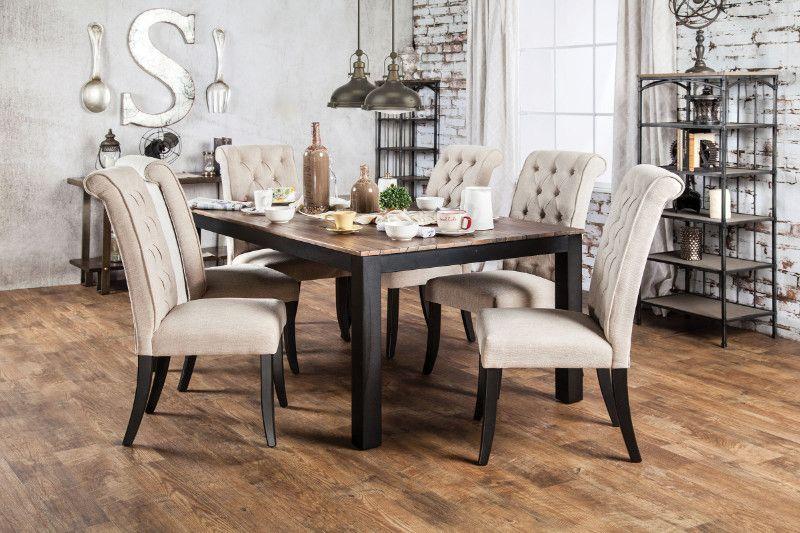 cm3564t 7 pc marshall rustic oak finish wood dining table