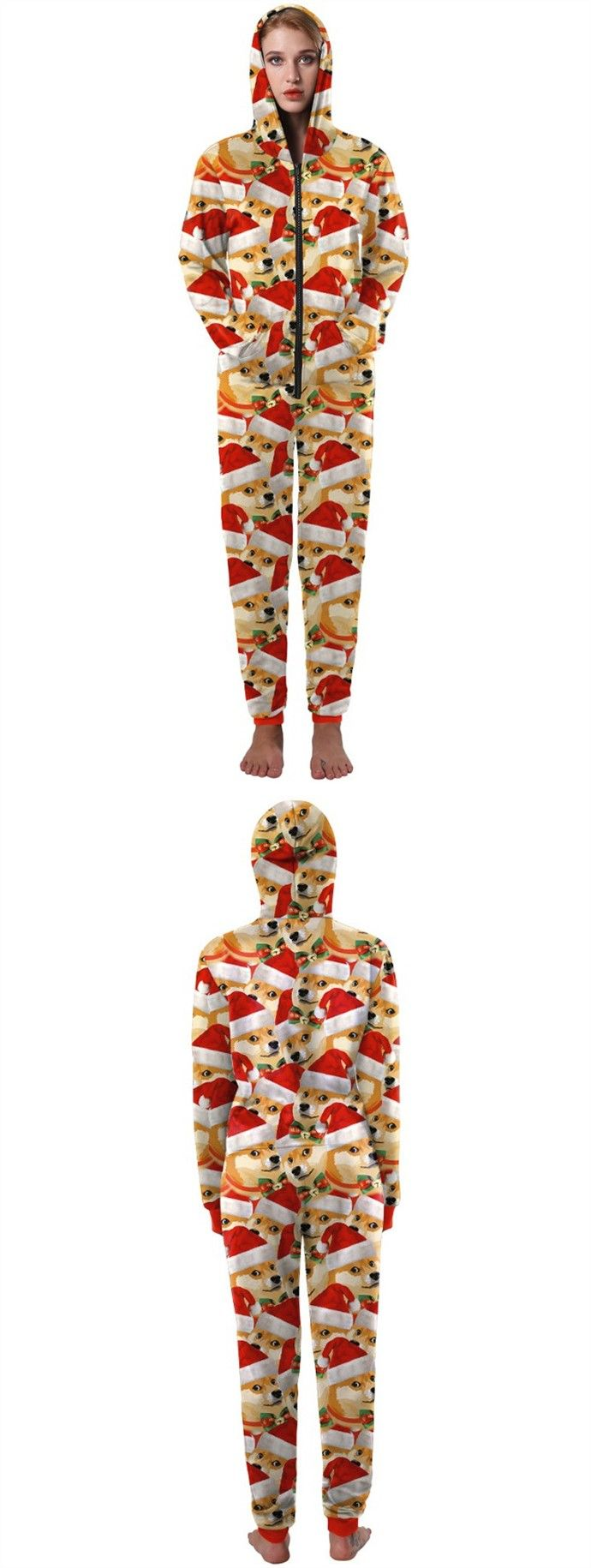 Multi Color 3D Printed Pug Family Christmas Pajama Set